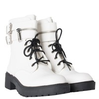 Faux Leather Heeled Adjustable Shoelace Zipper Side Cuff Flat Combat Boot in White