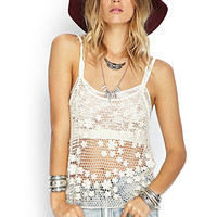 FOREVER 21 Faux Pearl Floral Crochet Tank Cream One