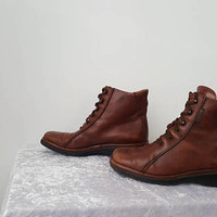 Vintage Womens Ankle BOOTs Winter Leather Brown  Ankle Boots Womens Brown Boots Women's Brown Genuine Leather Boots UK4 EU37 US6.5