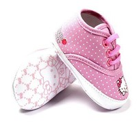 New HELLO KITTY Soft Sole Baby Girl Spotty High Top Crib Shoes. Age 0-18 Months