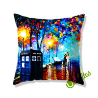doctor who tardis box painting art Square Pillow Cover