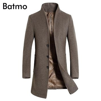 Batmo 2017 new arrival winter high quality wool men's Single Breasted trench coat,winter coat men ,5 colors ,plus-size 1861
