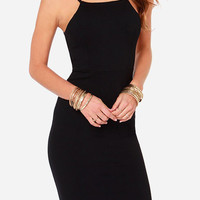 Black Strappy Cutout Back Bodycon Dress