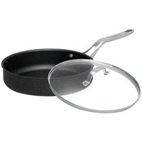"""Starfrit The Rock 11"""" Deep Fry Pan With Glass Lid"""