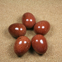 GEMSTONE EGGS - Goldstone Natural Stone Egg - Sparkle Orange Red