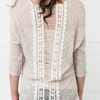 Pieces Of Me Taupe Slice Back Crochet Top