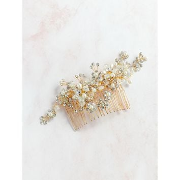 Gold rhinestone headpiece - style 7016 - ready to ship
