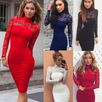 Sexy Women Lace Dress Casual Long Sleeve Dresses Womens Skinny Turtleneck Woman Clothes Bodycon Female Solid Short Mini Dress