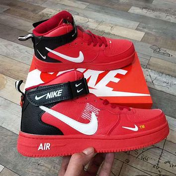 AIR FORCE 1 NIKE Trending Women Men High tops Low tops Classic Sneakers Sports Shoes Red+black