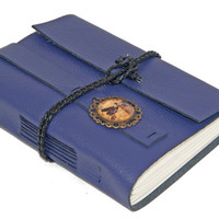 Purple Leather Wrap Journal with Dragonfly Cameo Bookmark