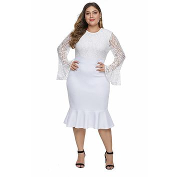 White Lace Bodice Bell Sleeve Ruffled Hem Outfit