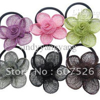 12pc Mix Color Fashion DIY straw linen fabric flower fit brooch shoes clothes hair garment accessory jewelry