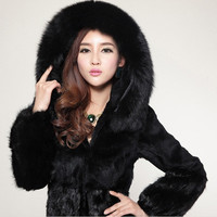 Fur Story 15126 2015 New Women's long Rabbit Fur Coat Big Fox Fur Hood Trim Patches Real Mink Fur Hem Coat Female Jackets Especially = 1956312324