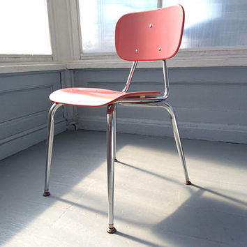 Vintage, Desk Chair, Chair, Adult, Teen, School House Chair, Salmon Color, Chrome, Furniture, MidCentury, Industrial, RhymeswithDaughter