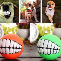Teeth Toys Ball Durable Treat Bite Fetch Ball Funny Pet Dog Puppy Smile Cat