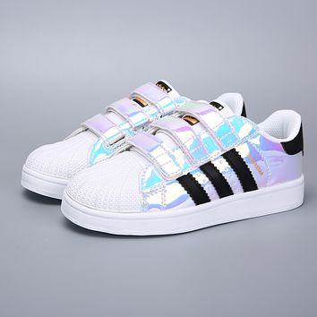 Adidas Original Superstar White Black Multi Velcro Toddler Kid Shoes