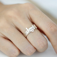 Initial Ring in 925 Sterling Silver, capital letter, HEART, upper case, letter ring, alphabet ring, Initial (A~Z) with Heart pendant rings