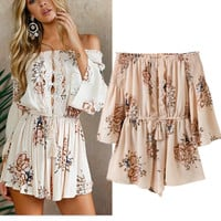 Casual Pants Summer Stylish Print Lace Patchwork Shorts Women's Fashion Jumpsuit [11597198159]