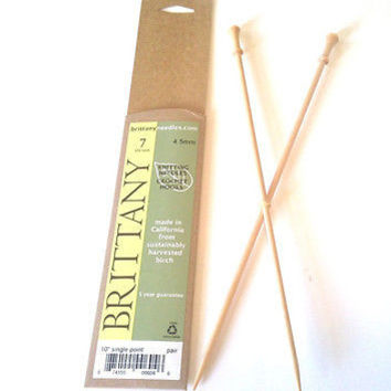 """Brittany Wood Single Point Knitting Needles 10"""" Single Point Size 9 or 5.5 mm"""