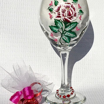Wine Glass With A Hand Painted Red Rose and A Heart Charm And Candy Valentines Day Gift, Birthday Gift, Gift For Her, Romantic Gift Idea