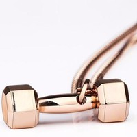 Rose Gold Fitness Lovers Dumbbell Necklace