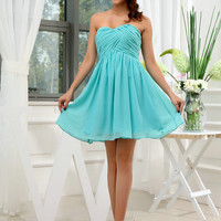 Custom Handmade Sexy Blue Pleated A Line Chiffon Mini Short Prom/Evening/Party/Bridesmaid/Cocktail/Homecoming Dress Gown