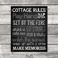 Camp Rules & Cottage Rules -  Chalkboard Decor Quotes Wall Art Digital Printable File Instant Download DIY Decor - Fire S'mores Drink Sunset