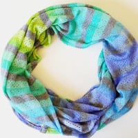 Teardrop Cutout Ombre Knit Infinity Scarf Womens Fall Fashion Scarves Girls Winter Scarves Ombre Scarves Striped Knit Scarf