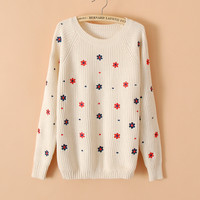 Flower Print Slim Embroidery Scoop Sweater