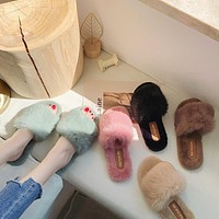 Autumn And Winter Fashion Fur Slippers For Women To Wear A Flip-Flop Rabbit Fur All-Match Social Warm Slippers