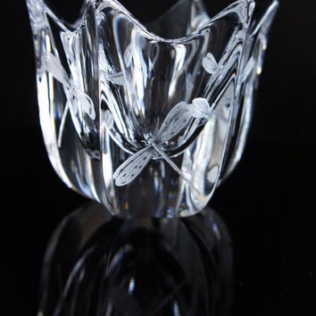 Hand Engraved Crystal Dragonfly Bowl, Dragonflies