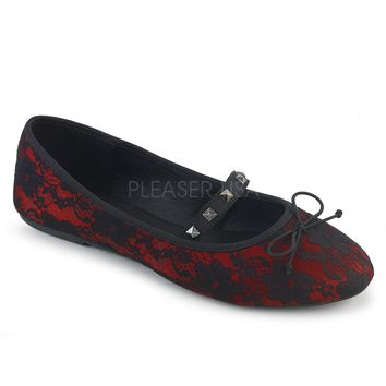 Demonia Red Lace Flats