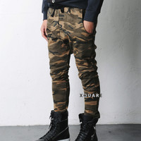 Elton Camouflage Drop Crotch Baggy Jersey Pants - LIIMITED RESTOCK