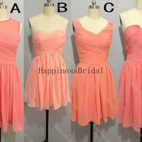 Short coral chiffon prom dress with pleat,prom dresses,bridesmaid dress,chiffon prom dress,short evening dress 2014,formal dress