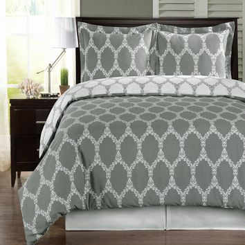 Brooksfield Gray 100% Combed cotton Duvet Cover Set