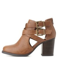 Belted Cut-Out Chunky Heel Booties by Charlotte Russe - Tan
