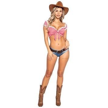 Sexy Cowgirl Rodeo Plaid Halloween Costume