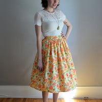 The Brunch Skirt. XS - XL, Petite - Tall. Orange & Green on White. 1950s Vintage Reproduction. Summer.