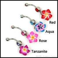 "Rainbow Flower Belly Button Ring ""Free Shipping"""