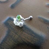 White Rose Pearl Green Gem Cz Crystal Cluster Cartilage Helix Earring Ear Jewelry Post Stud 16g 14g 14 16 Gauge G Flower Stud Ring