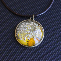 Handmade Real Dried Flower Glass Pendant Necklace. Natural Chrysanthemum and Baby's Breath Flower Pendant. Nature Lover Gift.
