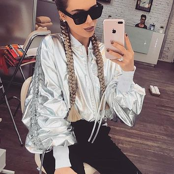 Sports Hot Deal On Sale Jacket Winter Women's Fashion Silver Leather Zippers Baseball [152640454681]