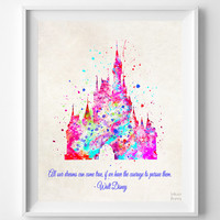 Cinderella's Castle Quote Print, Disney Princess, Disney Castle Poster, Illustration, Home Decor, Room Art, Kid Wall, Christmas Gift
