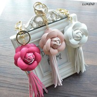 Womens Charm Leather Camellia Flower Key Chain