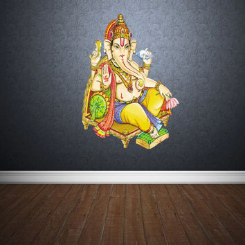 Full Color Wall Decal Mural Sticker Art Paintings Indian Ganesh Om Lotos Elephant Lord Hindu Success Buddha India Like Paintings (col159)