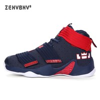 Zenvbnv Men Shoes Court Male LeBron James Basketball Ankle Boots for Female Couple Anti-Slip Court Sports Sneakers Size 36-45