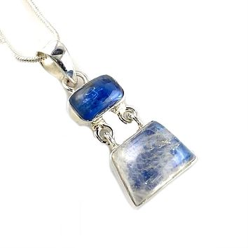 Kyanite & Moonstone Sterling Silver Hinged Pendant