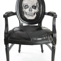 Skull Chair French Louis XVI Armchair Leather Tooled Custom Upholstered Rock n Roll Edgy Rebel Apocalyptic Black Metal Chrome Revival