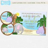 Jungle safari baby shower invitation, Boy baby shower invite with African animals / Custom digital printable invite + thank you labels