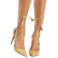 Nude Lace-Up Pointed Toe Pumps by Charlotte Russe
